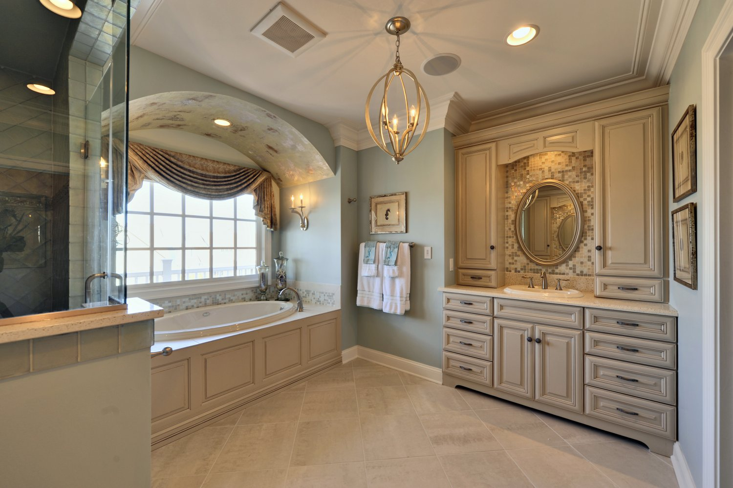 Cape shores photo gallery of custom delaware new homes for Custom master bathroom designs